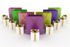 Free Boxes With Gifts And  Paper Bags Royalty Free Stock Photography - 27582667
