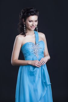 Cute Female In Fashionable Vogue Blue Dress Royalty Free Stock Photo
