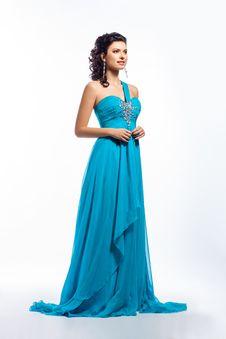 Free Elegant Contemporary Blue Dress - Fashion Style Royalty Free Stock Image - 27584426