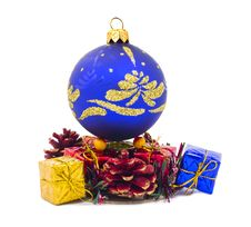 Free Christmas Blue Ball And Fancy Boxes Stock Photos - 27584803