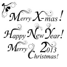 Free Merry Christmas, Happy New Year Royalty Free Stock Image - 27585156