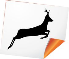 Silhouette Of Deer On A Curled Paper Royalty Free Stock Photos