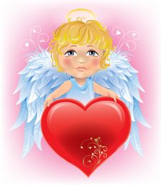 Free Angel Little Boy And Valentine S Day Heart Royalty Free Stock Image - 27588756