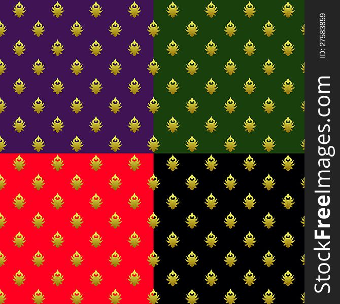 Set of seamless patterns with golden elements