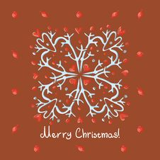 Free Merry Christmas Card With Snowflake Stock Image - 27593061