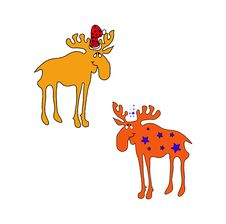 Funny Brown Christmas Moose Smile Royalty Free Stock Photo