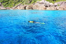 Snorkeling In Blue Coral Reef Stock Photography
