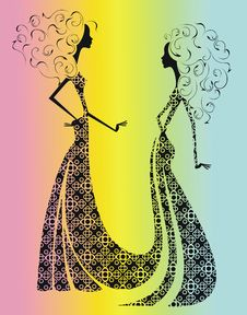 Free Silhouette Of Two Beautiful Girls. Royalty Free Stock Photos - 27596688