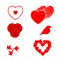Free Set Different Red Hearts Bird And Symbols Stock Photography - 27593952