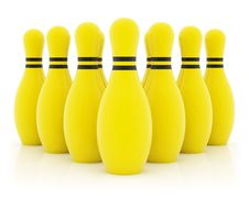 Free Ten Yellow Bowling Pins Royalty Free Stock Photos - 2761068