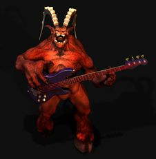 Free Devil Playing Guitar.satanic Stock Image - 2762791
