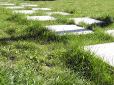 Free The Path On The Lawn Stock Image - 2763381