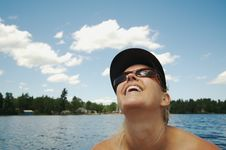 Free Happy Woman On Lake Royalty Free Stock Images - 2763539