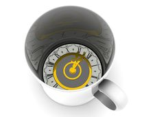Cup With Clock. Royalty Free Stock Photos