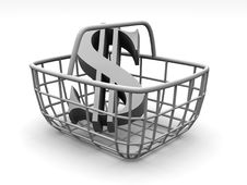 Free Consumer Basket With Dollar Royalty Free Stock Photos - 2766268