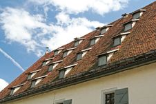 Tiled Old Building Roof Royalty Free Stock Photography
