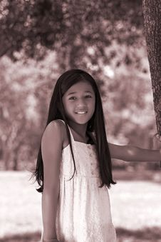 Free Young Girl At Tree Stock Images - 2767044
