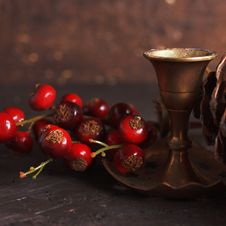 Free Christmas Decoration With A Vintage Candlestick Royalty Free Stock Photography - 27604367