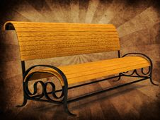Free Park Bench On Grunge Background Stock Photo - 27606430