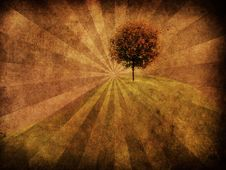 Tree On Grunge Background Royalty Free Stock Photos