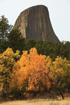 Fall Colors At Devils Tower Royalty Free Stock Photos
