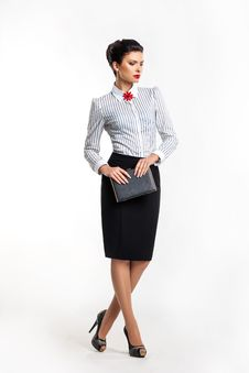 Free Serious Businesswoman - Fashion Model With Notepad Royalty Free Stock Image - 27611256