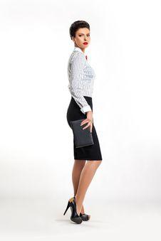 Free Businesswoman Secretary With Handbag Sideways Stock Image - 27611331