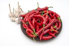 Free Many Chili And Garlic On Plate Royalty Free Stock Photos - 27612628