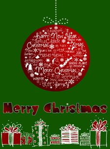 Free Merry Christmas Card. Stock Photos - 27620903