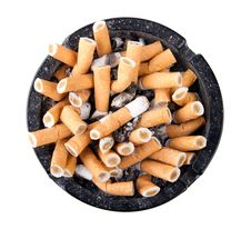 Free Ashtray Full Of Cigarettes Stock Image - 27621201