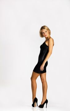 Lovely Young Girl In Black Dress Stock Photo