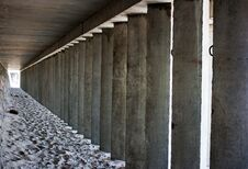 Empty Corridor Of Concrete Columns Royalty Free Stock Images
