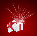 Free Magic Box. White On Red Background Royalty Free Stock Images - 27637259