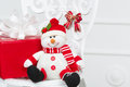 Free Toy Snowman With Red Box Royalty Free Stock Photo - 27638675