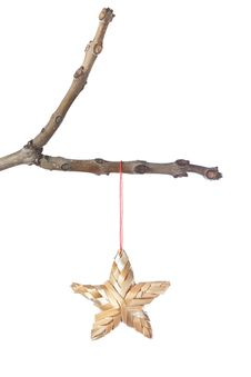 Decorative Star On A Branch For Christmas. Royalty Free Stock Image