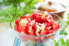 Free Salad With Fresh Ripe Peppers Stock Photos - 27634863