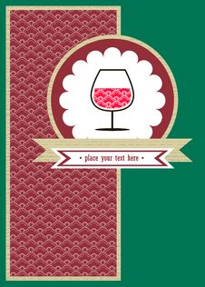 Free Card With A Glace Of Wine And Red Pattern Royalty Free Stock Images - 27635089