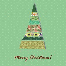 Card With Pattern Xmas Tree Stock Photos