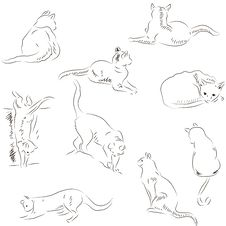 Free Cats Sketches Set Stock Image - 27635151