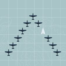 Free Planes On The Map Royalty Free Stock Photo - 27635225