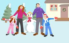 Family And Snowman Royalty Free Stock Image