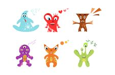 Free Cheerful Cute Monsters Stock Photo - 27637380