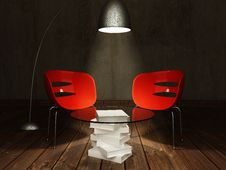 Free Red Chairs With Coffee Table Stock Images - 27638794