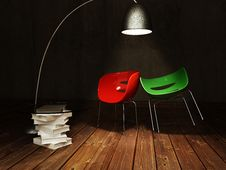 Free Red And Green Chair By The Coffee Table Stock Photo - 27638960