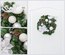 Free Christmas Pine Wreath Collage Royalty Free Stock Photos - 27639218