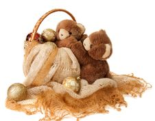 New Year Greeting Card With Teddy Bear . Stock Image