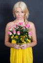 Free Pretty Young Woman Holding Flowers Royalty Free Stock Image - 27645296