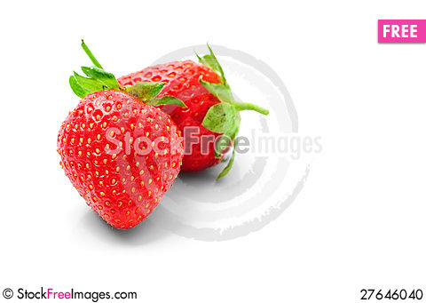 Free Two Strawberries  On A White Background Stock Photo - 27646040