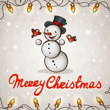 Free Snowman Greeting Card Royalty Free Stock Photo - 27640005