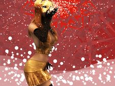 Free Girl In Golden Mask Blowing Snow Stock Photography - 27640242